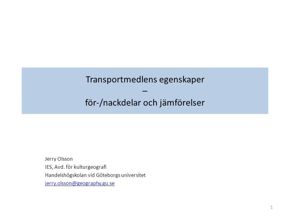 Men påverkas också av Servicenivå (leveransdagar, servicepunklighet) och hastighet Transportmedel som erbjuder snabba och punktliga leveranser (främst lastbil, flyg) vinner (mer och mer) över transportmedel som erbjuder billiga men långsamma transporter (främst järnväg, i mindre grad sjöfart och då främst högvärdigt gods/varor) Infrastrukturkapacitet och nätverk (stora skillnader, i vissa länder konkurrens mellan transportslagen, medan i andra länder dominerar ett eller ett par transportslag) Säkerhet Policy (vissa transportmedel kan förfördelas på bekostnad av andra transportmedel, t.ex.