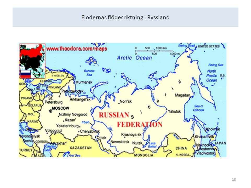 Flodernas flödesriktning i Ryssland 10