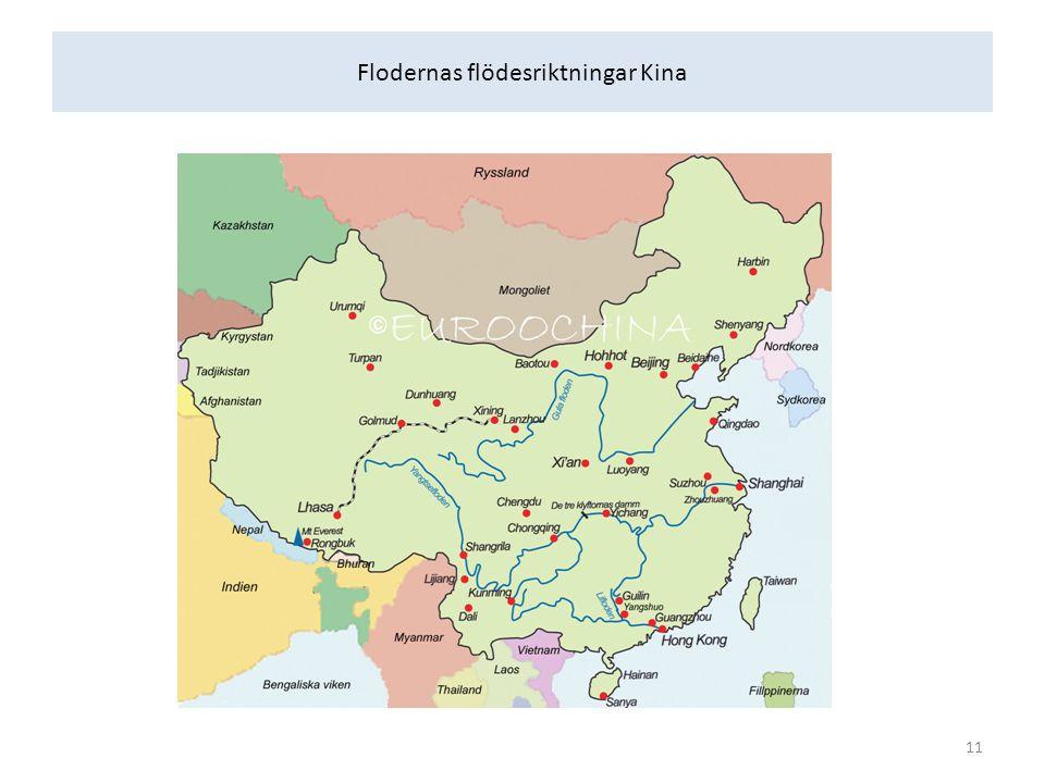 Flodernas flödesriktningar Kina 11