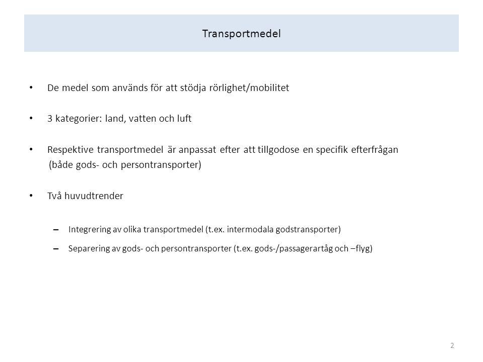 Transportmedel De medel som används för att stödja rörlighet/mobilitet 3 kategorier: land, vatten och luft Respektive transportmedel är anpassat efter att tillgodose en specifik efterfrågan (både gods- och persontransporter) Två huvudtrender – Integrering av olika transportmedel (t.ex.