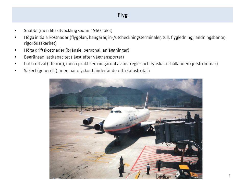 Flyg Snabbt (men lite utveckling sedan 1960-talet) Höga initiala kostnader (flygplan, hangarer, in-/utcheckningsterminaler, tull, flygledning, landningsbanor, rigorös säkerhet) Höga driftskostnader (bränsle, personal, anläggningar) Begränsad lastkapacitet (lägst efter vägtransporter) Fritt ruttval (i teorin), men i praktiken omgärdat av Int.