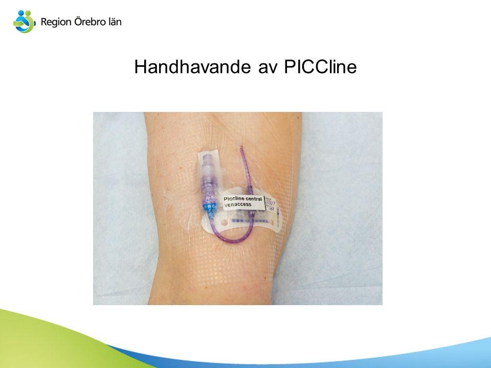Skötsel av PICCline  Injektionsmembran byts en gång i veckan  Injektionsmembran byts vid skada eller synligt blod i kateter eller membran  Injektionsmembran byts alltid om blod aspirerats eller givits  Injektionsmembran byts alltid efter att TPN givits