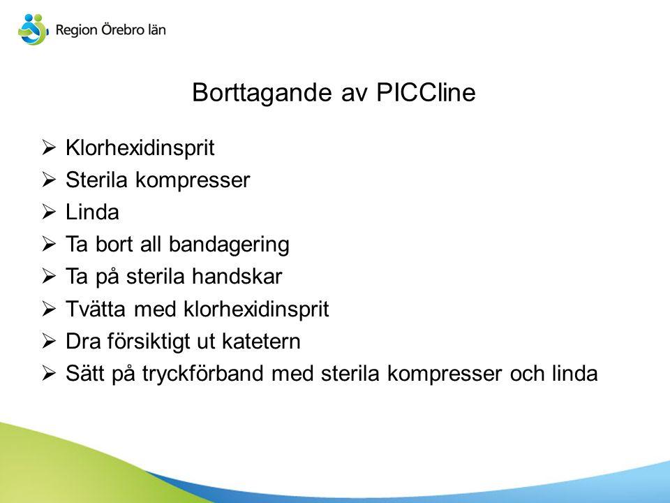 Borttagande av PICCline  Klorhexidinsprit  Sterila kompresser  Linda  Ta bort all bandagering  Ta på sterila handskar  Tvätta med klorhexidinspr