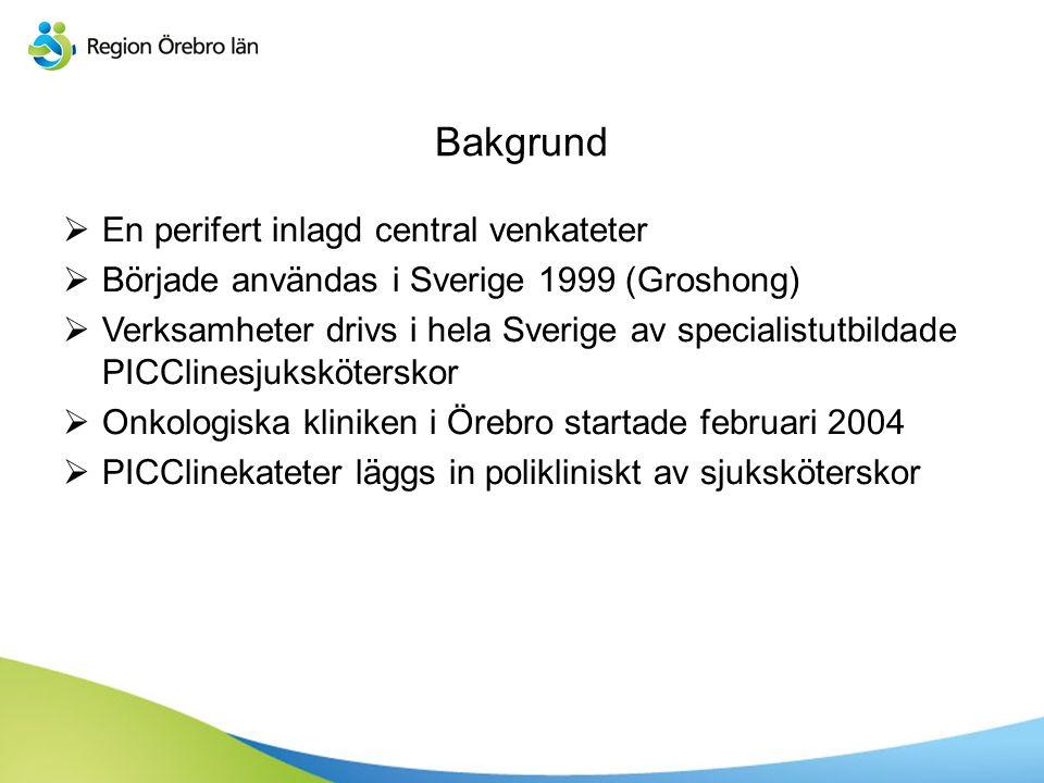 Bakgrund  En perifert inlagd central venkateter  Började användas i Sverige 1999 (Groshong)  Verksamheter drivs i hela Sverige av specialistutbilda