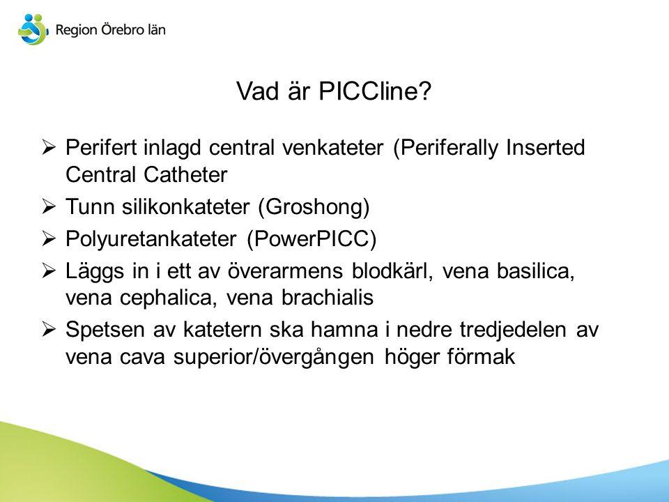 Vad är PICCline?  Perifert inlagd central venkateter (Periferally Inserted Central Catheter  Tunn silikonkateter (Groshong)  Polyuretankateter (Pow