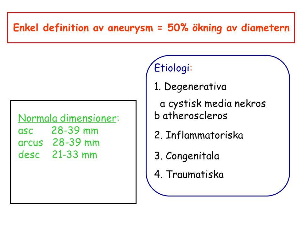 Enkel definition av aneurysm = 50% ökning av diametern Normala dimensioner: asc 28-39 mm arcus 28-39 mm desc 21-33 mm Etiologi: 1.