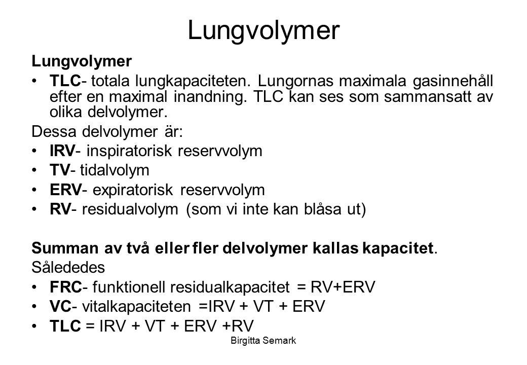 Birgitta Semark Lungvolymer TLC- totala lungkapaciteten. Lungornas maximala gasinnehåll efter en maximal inandning. TLC kan ses som sammansatt av olik