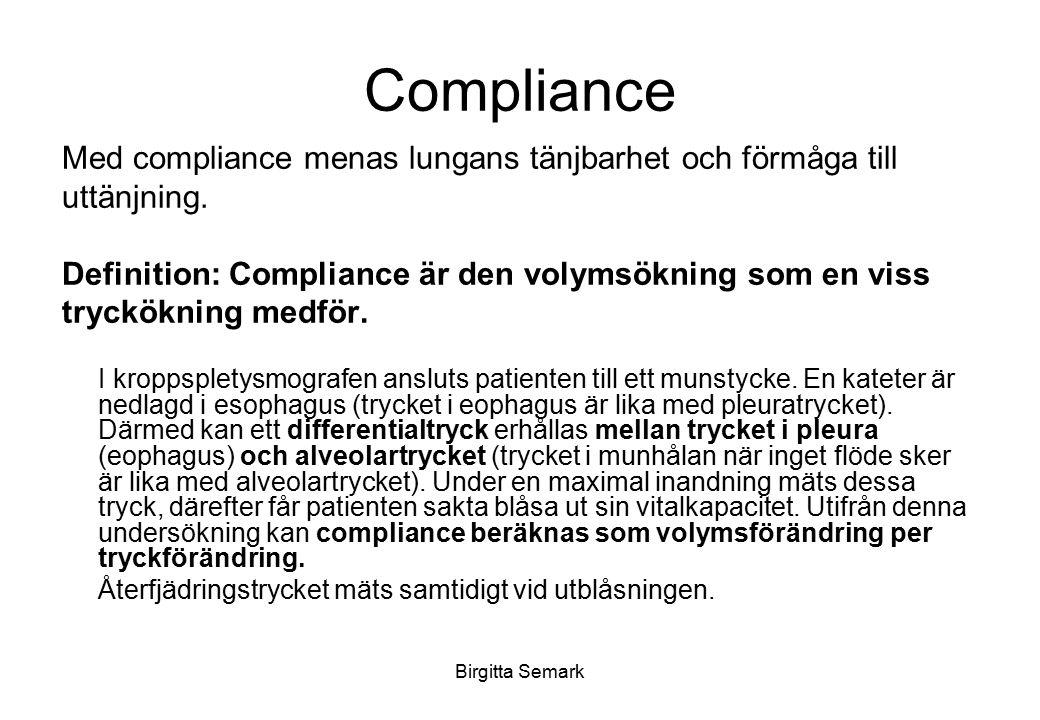 Birgitta Semark Compliance Med compliance menas lungans tänjbarhet och förmåga till uttänjning. Definition: Compliance är den volymsökning som en viss