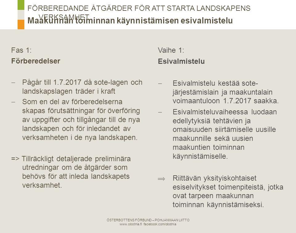 Fas 2: Temporärt beredningsorgan  Avsikten är att ikraftträdandelagen för sote-lagen och landskapslagen ska träda i kraft 1.7.2017.