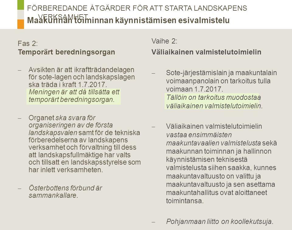 Fas 3 & 4: Landskapet i inledningsskedet  Avsikten är att landskapsfullmäktige- valet hålls i januari 2018, i samband med presidentvalets första omgång.