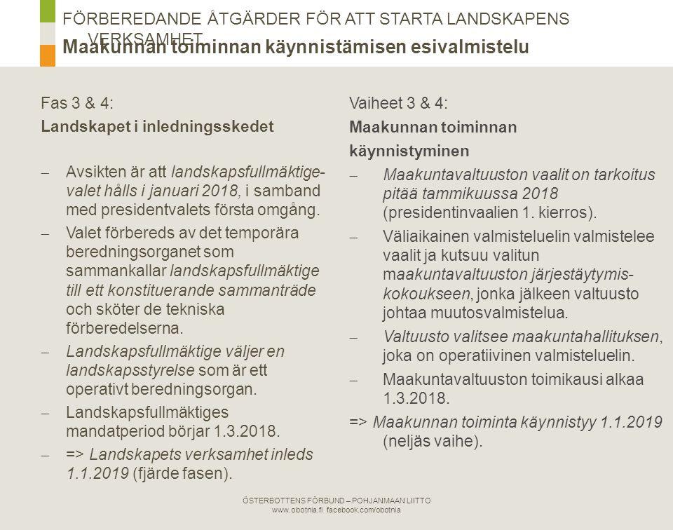 ÖSTERBOTTENS FÖRBUND – POHJANMAAN LIITTO www.obotnia.fi facebook.com/obotnia Maakunnan toiminnan käynnistämisen esivalmistelu FÖRBEREDANDE ÅTGÄRDER FÖR ATT STARTA LANDSKAPENS VERKSAMHET Förberedelser Esivalmistelu → 1.7.2017 Temporärt berednings- organ Väliaikainen valmistelu- toimielin Val av landskaps- fullmäktige i januari 2018 Tammikuussa 2018 valitaan maakunta- valtuusto Ny landskaps- styrelse → operativt berednings- organ Uusi maakunta- hallitus → operatiivinen valmisteluelin 1234 Landskapets verksamhet inleds 1.1.2019 Maakunnan toiminta käynnistyy 1.1.2019
