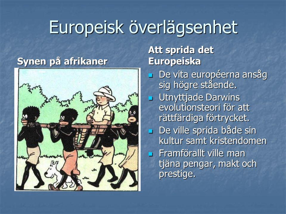 Europeisk överlägsenhet Synen på afrikaner Att sprida det Europeiska De vita européerna ansåg sig högre stående. De vita européerna ansåg sig högre st