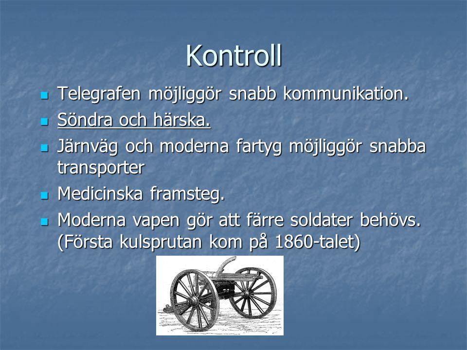 Kontroll Telegrafen möjliggör snabb kommunikation. Telegrafen möjliggör snabb kommunikation. Söndra och härska. Söndra och härska. Järnväg och moderna