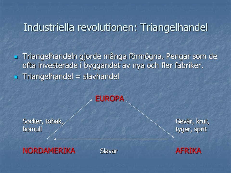 Industriella revolutionen: Triangelhandel Triangelhandeln gjorde många förmögna. Pengar som de ofta investerade i byggandet av nya och fler fabriker.