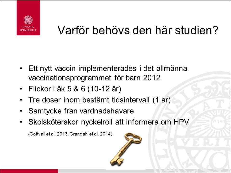 Varför behövs den här studien? Ett nytt vaccin implementerades i det allmänna vaccinationsprogrammet för barn 2012 Flickor i åk 5 & 6 (10-12 år) Tre d