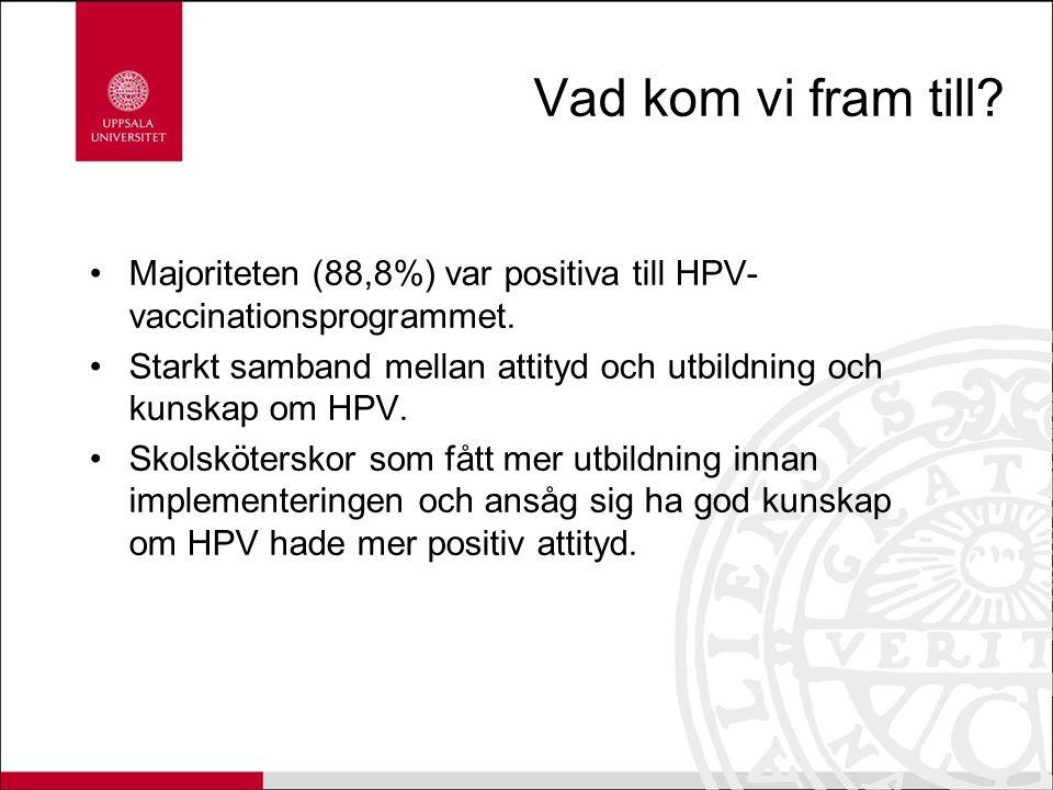 Vad kom vi fram till? Majoriteten (88,8%) var positiva till HPV- vaccinationsprogrammet. Starkt samband mellan attityd och utbildning och kunskap om H
