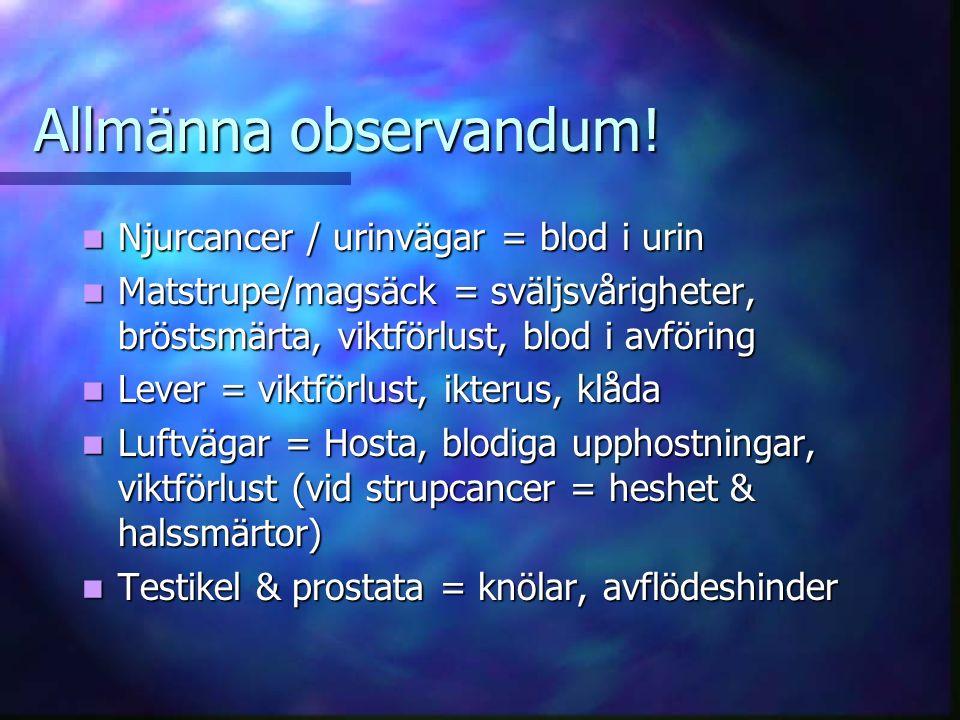 Allmänna observandum.