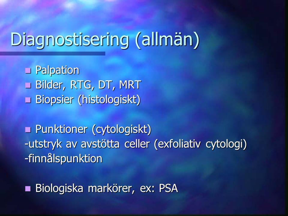 Diagnostisering (allmän) Palpation Palpation Bilder, RTG, DT, MRT Bilder, RTG, DT, MRT Biopsier (histologiskt) Biopsier (histologiskt) Punktioner (cytologiskt) Punktioner (cytologiskt) -utstryk av avstötta celler (exfoliativ cytologi) -finnålspunktion Biologiska markörer, ex: PSA Biologiska markörer, ex: PSA