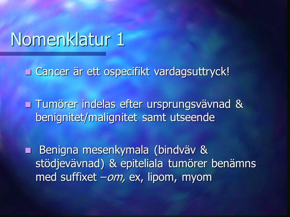 Nomenklatur 1 Cancer är ett ospecifikt vardagsuttryck.