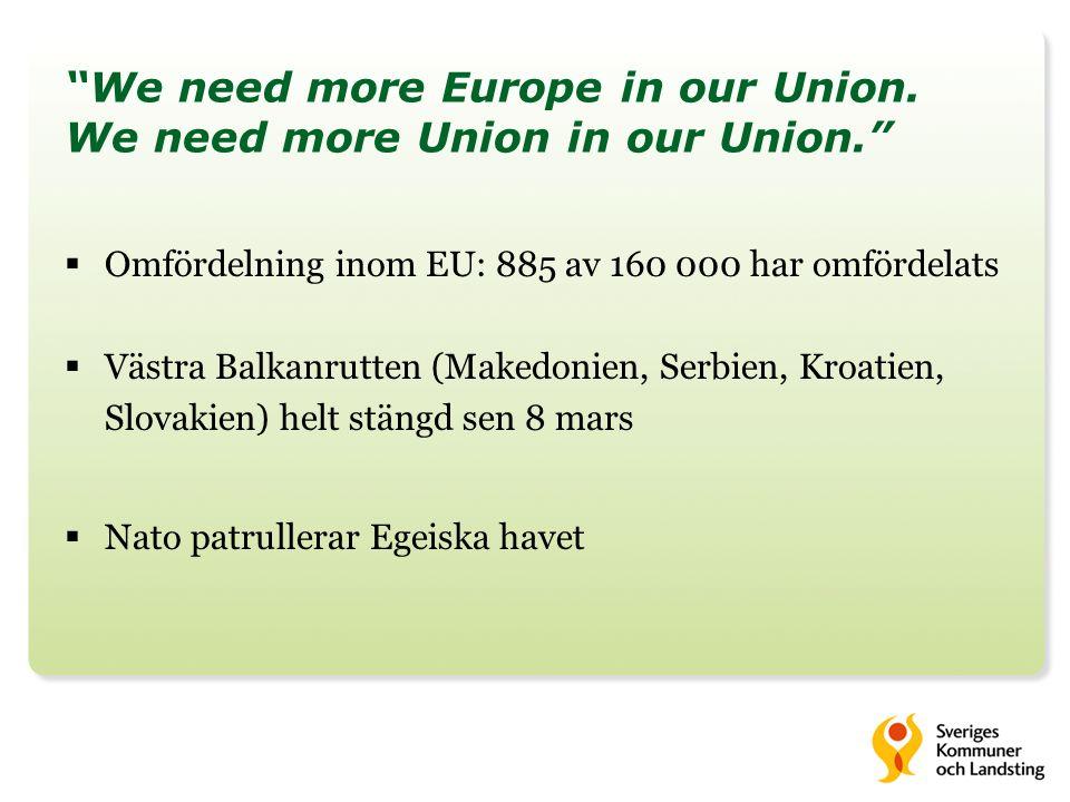 Vi måste bryta sambandet mellan att stiga ombord på en båt och att få bosättning i Europa. Uttalande från EU:s stats- och regeringschefer 8 mars  Preliminär uppgörelse med Turkiet: Återsända alla irreguljära migranter från de grekiska öarna, på EU:s bekostnad För varje syrier som återtas av Turkiet ska en annan syrier vidarebosättas från Turkiet till EU Påskynda utbetalning av 3 miljarder euro samt besluta om ytterligare finansiering Ge ytterligare stöd till Grekland för förvaltning av de yttre gränserna (Frontex, Europol)