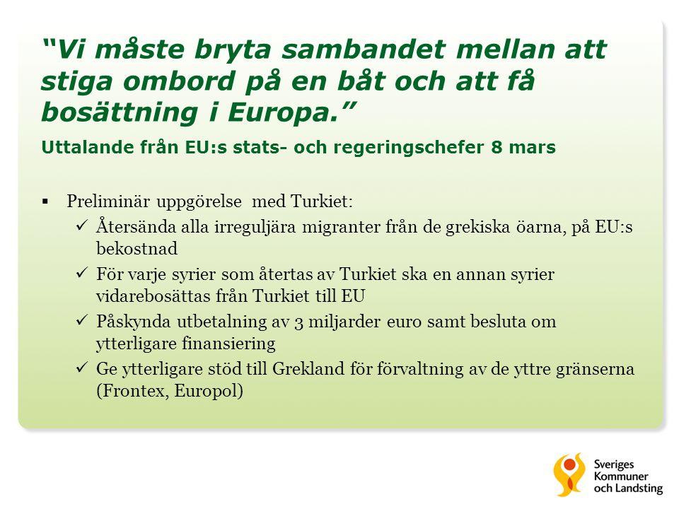 Ny anvisningsmodell 1 april 2016  Regeringen ger Migrationsverket i uppdrag att ta fram en ny anvisningsmodell för ensamkommande barn och unga  Vissa kommuner har fått ta ett oproportionerligt stort ansvar  En jämnare och mer förutsägbar fördelning  Modellen ska bygga på att samtliga kommuner tilldelas en andel av det totala antalet ensamkommande barn som söker asyl i Sverige  Nya anvisningsmodell kommer ha ett golv (1 promille av 18 000) för varje kommun  Där även anknytningsanvisningar ska ingå (steg 1 ska vara undantag)