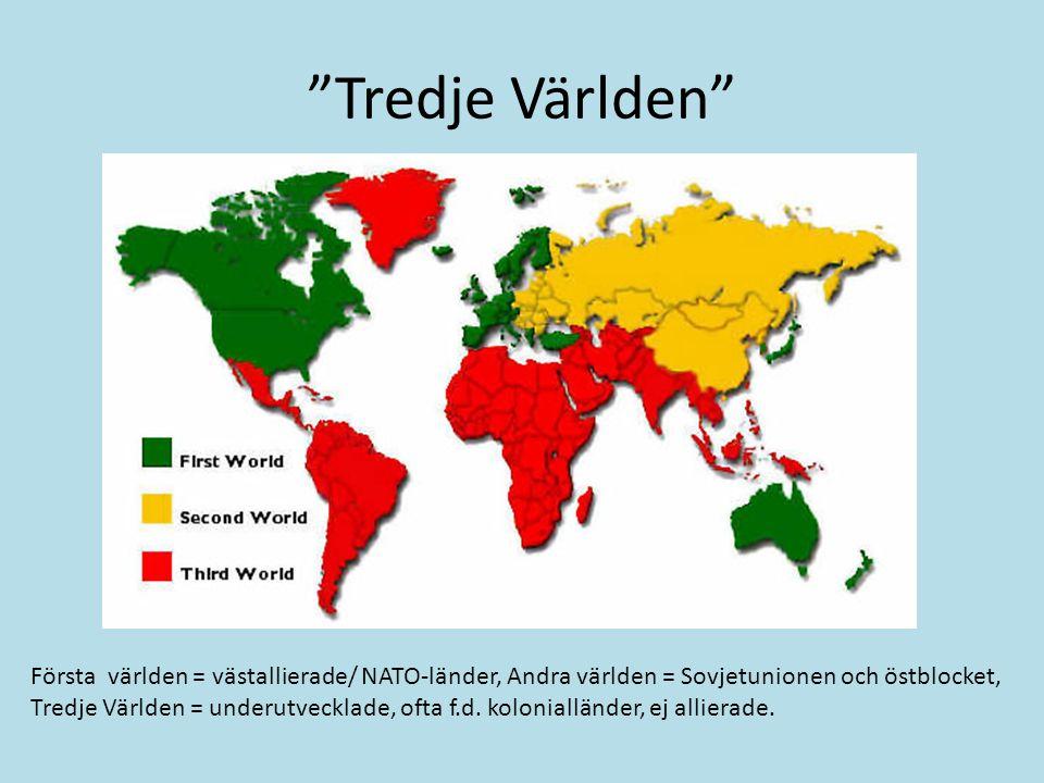 Tredje Världen Första världen = västallierade/ NATO-länder, Andra världen = Sovjetunionen och östblocket, Tredje Världen = underutvecklade, ofta f.d.