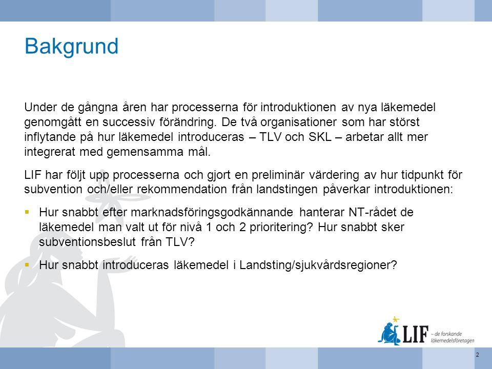 Metod: Tid från godkännande till prioritering Läkemedel som sålts i Sverige under perioden 2010 till 2015 och som hade en unik tillverkare eller ett unikt preparatnamn i en ATC (7-ställig) och form grupp identifierades (n = 1024).