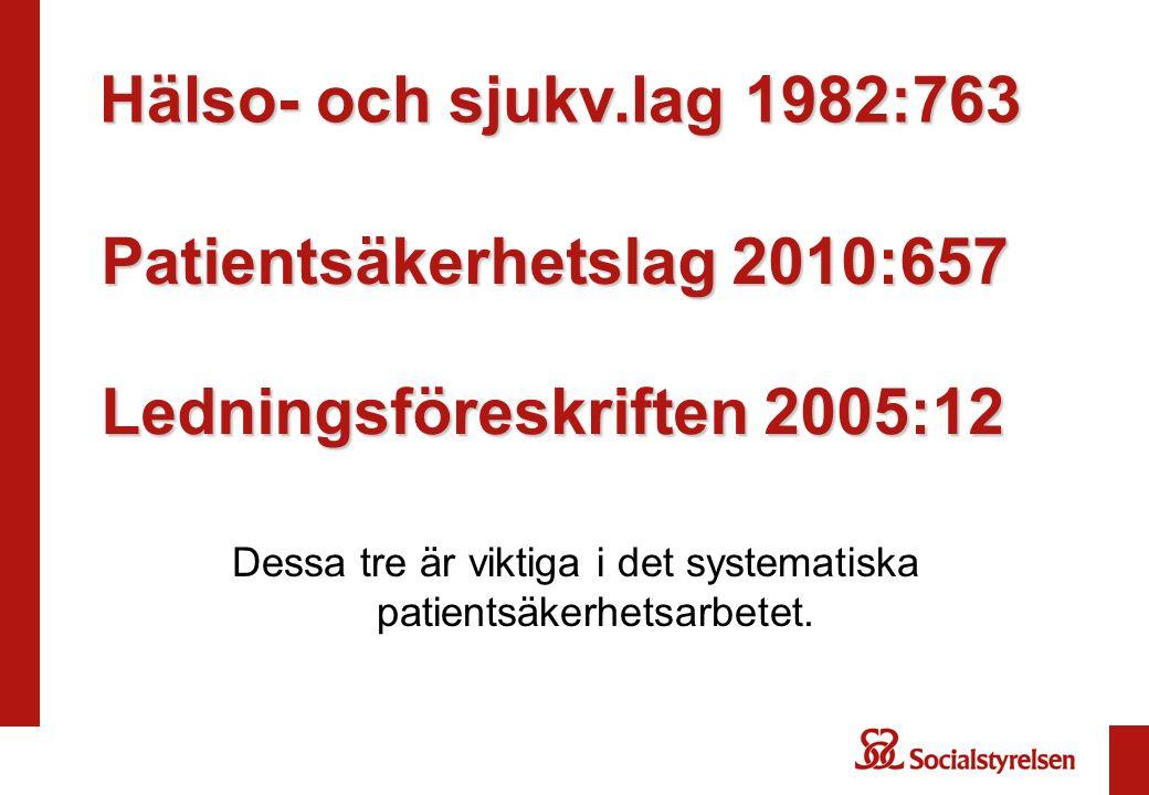 Hälso- och sjukv.lag 1982:763 Dessa tre är viktiga i det systematiska patientsäkerhetsarbetet.