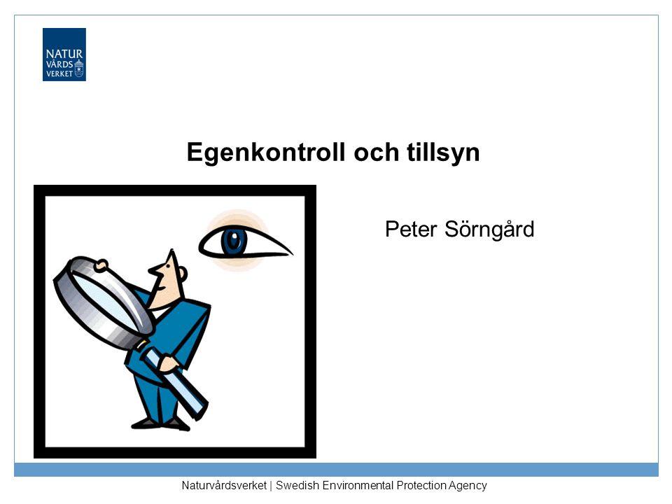 Naturvårdsverket | Swedish Environmental Protection Agency Egenkontroll och tillsyn Peter Sörngård