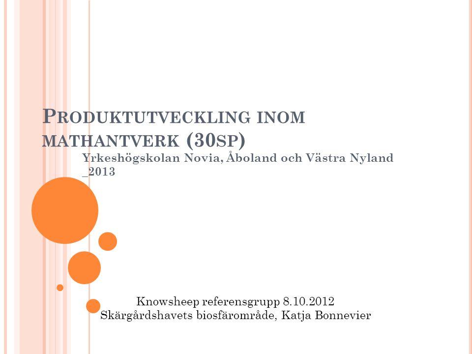 P RODUKTUTVECKLING INOM MATHANTVERK (30 SP ) Yrkeshögskolan Novia, Åboland och Västra Nyland _2013 Knowsheep referensgrupp 8.10.2012 Skärgårdshavets b