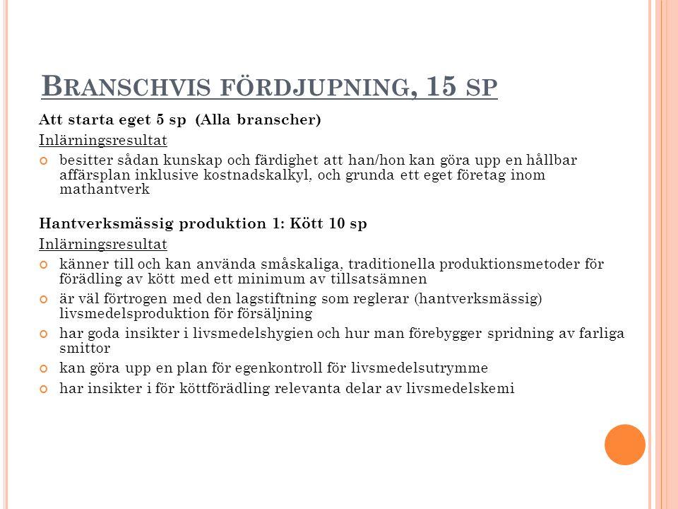 B RANSCHVIS FÖRDJUPNING, 15 SP Att starta eget 5 sp (Alla branscher) Inlärningsresultat besitter sådan kunskap och färdighet att han/hon kan göra upp