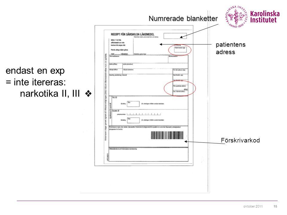 oktober 201115 Numrerade blanketter patientensadress Förskrivarkod endast en exp = inte itereras: narkotika II, III