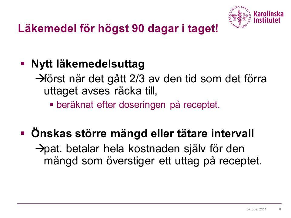 oktober 201117 Originalläkemedel det första läkemedel med viss aktiv substans som godkänts av LV Generiska läkemedel kopior från andra företag när patentet gått ut Parallellimporterade läkemedel godkänt läkemedel tillverkas av företag A köps upp billigare i ett annat land av företag B, packas om i svensk förpackning och säljs till ett lägre pris än det som företag A erbjuder i Sverige