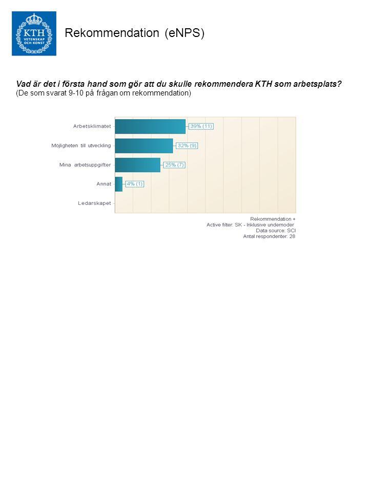 Rekommendation (eNPS) Vad är det i första hand som gör att du skulle rekommendera KTH som arbetsplats.
