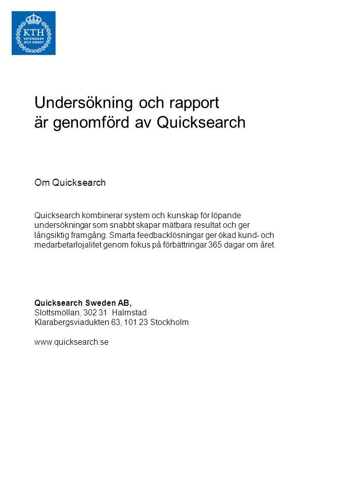 Undersökning och rapport är genomförd av Quicksearch Om Quicksearch Quicksearch kombinerar system och kunskap för löpande undersökningar som snabbt skapar mätbara resultat och ger långsiktig framgång.