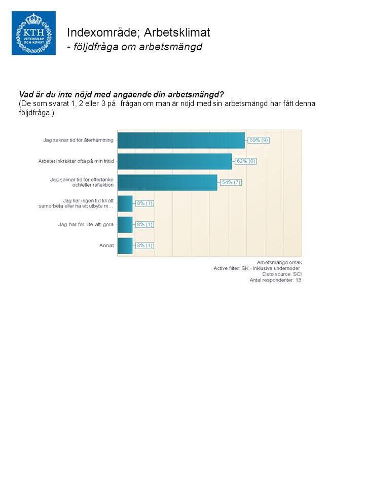 Indexområde; Arbetsklimat - följdfråga om arbetsmängd Vad är du inte nöjd med angående din arbetsmängd.
