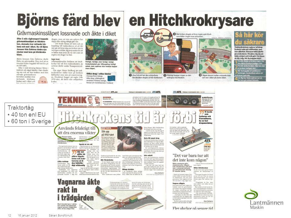 LandscapeLM-Maskin 16 januari 201212Säkert Bondförnuft Traktortåg 40 ton enl EU 60 ton i Sverige