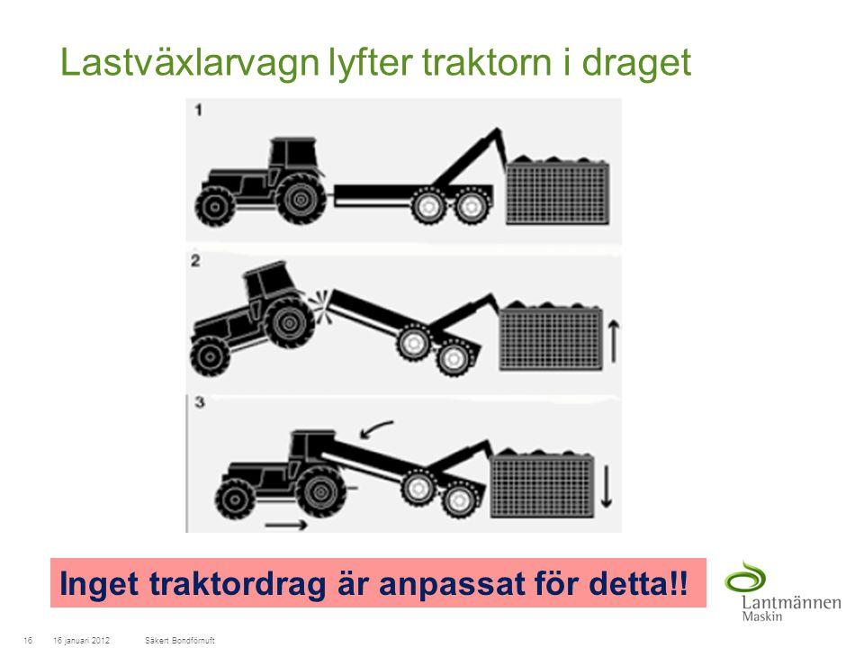 LandscapeLM-Maskin Lastväxlarvagn lyfter traktorn i draget 16 januari 201216Säkert Bondförnuft Inget traktordrag är anpassat för detta!!