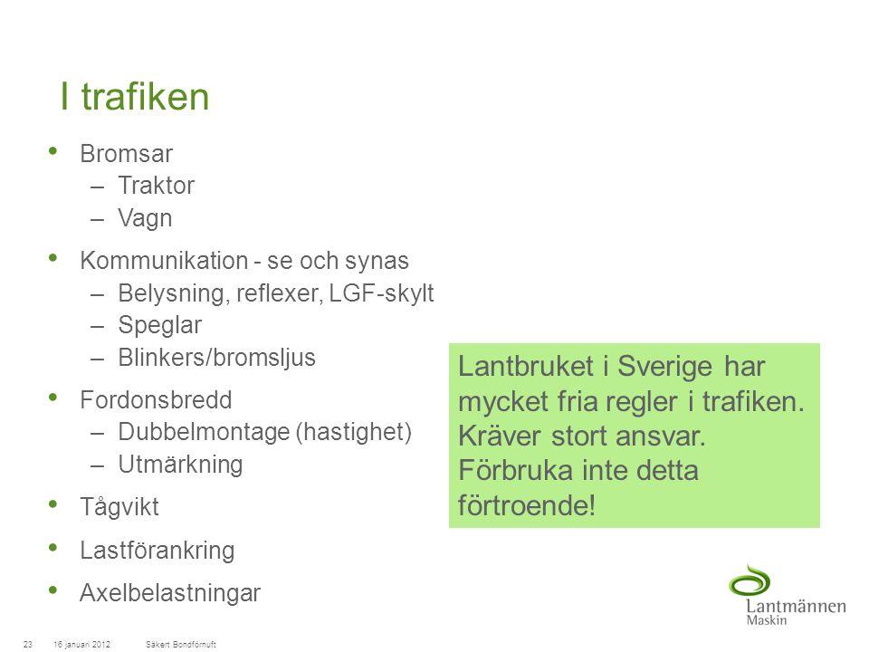 LandscapeLM-Maskin I trafiken Bromsar –Traktor –Vagn Kommunikation - se och synas –Belysning, reflexer, LGF-skylt –Speglar –Blinkers/bromsljus Fordonsbredd –Dubbelmontage (hastighet) –Utmärkning Tågvikt Lastförankring Axelbelastningar 16 januari 201223Säkert Bondförnuft Lantbruket i Sverige har mycket fria regler i trafiken.