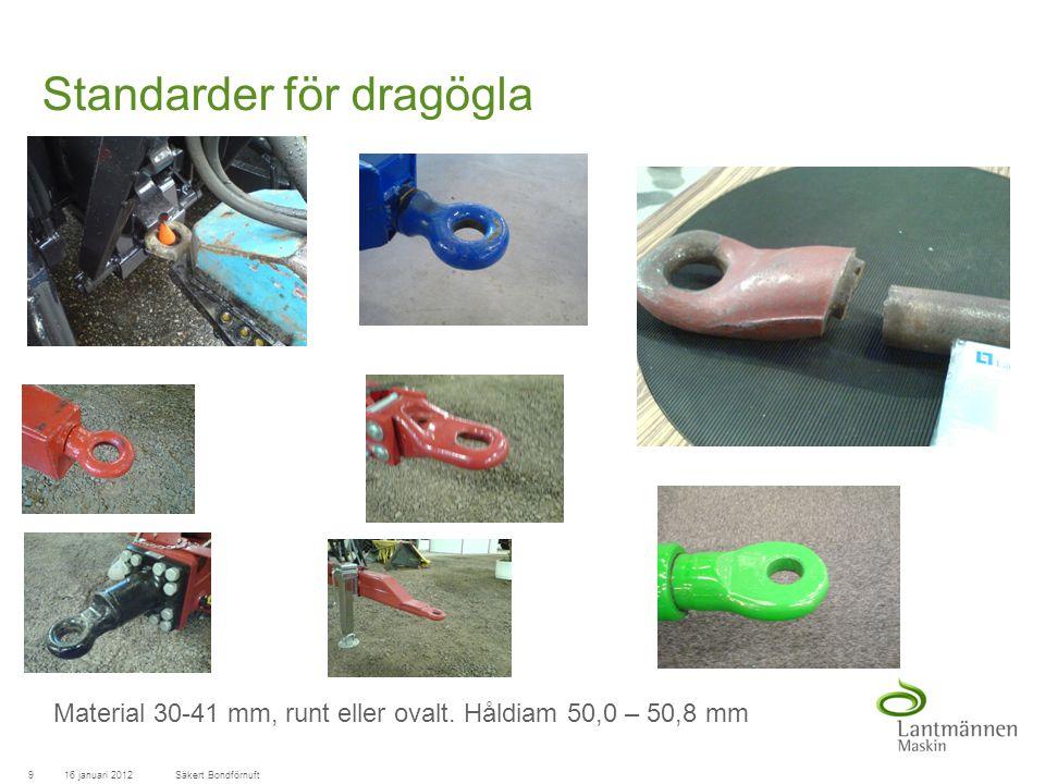 LandscapeLM-Maskin Standarder för dragögla 16 januari 20129Säkert Bondförnuft Material 30-41 mm, runt eller ovalt.