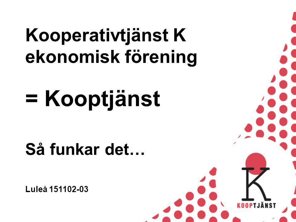 Kooperativtjänst K ekonomisk förening = Kooptjänst Så funkar det… Luleå 151102-03