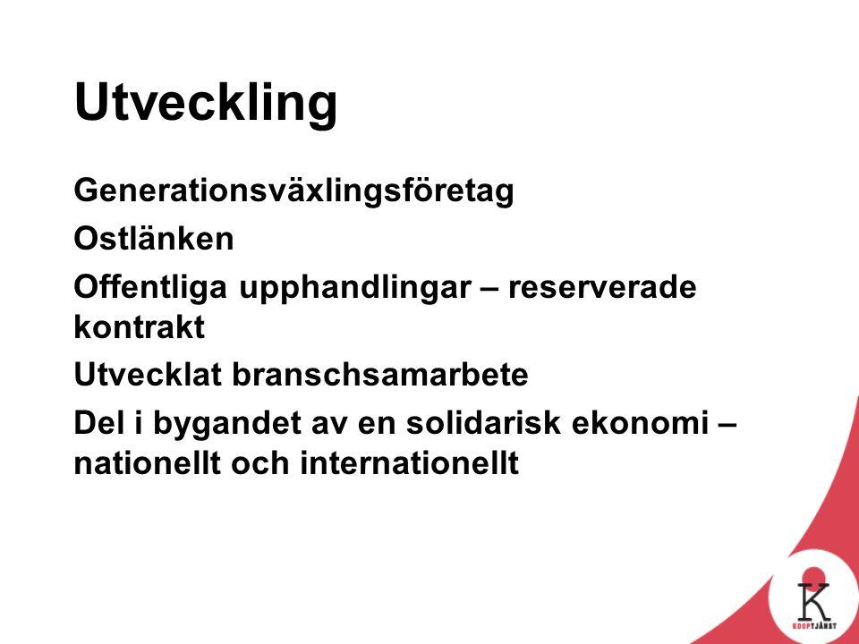 Utveckling Generationsväxlingsföretag Ostlänken Offentliga upphandlingar – reserverade kontrakt Utvecklat branschsamarbete Del i bygandet av en solidarisk ekonomi – nationellt och internationellt