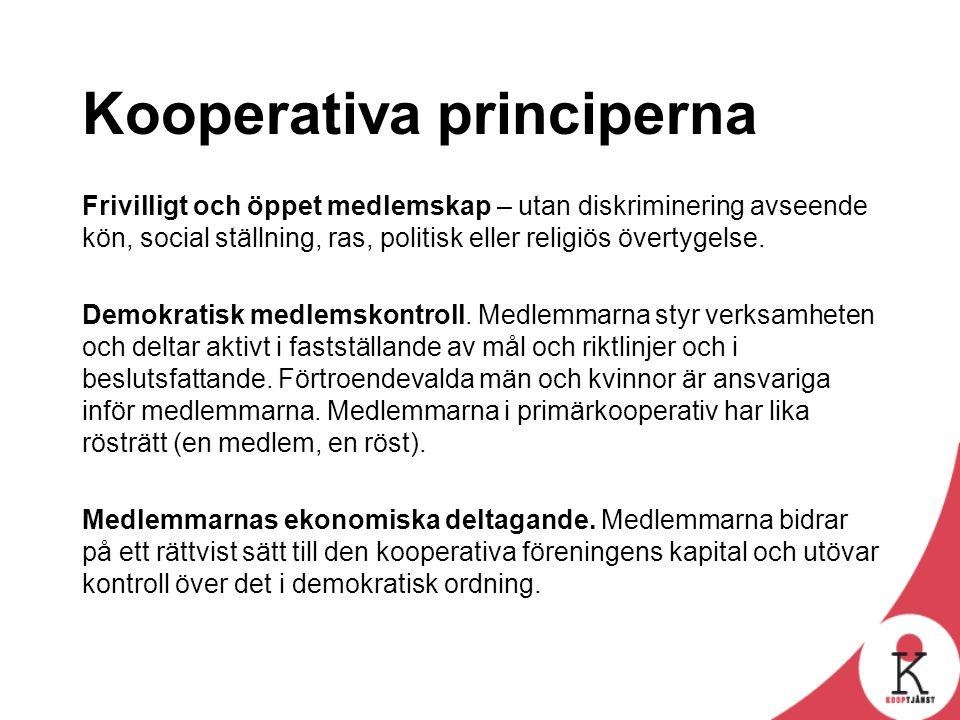 Kooperativa principerna Frivilligt och öppet medlemskap – utan diskriminering avseende kön, social ställning, ras, politisk eller religiös övertygelse.
