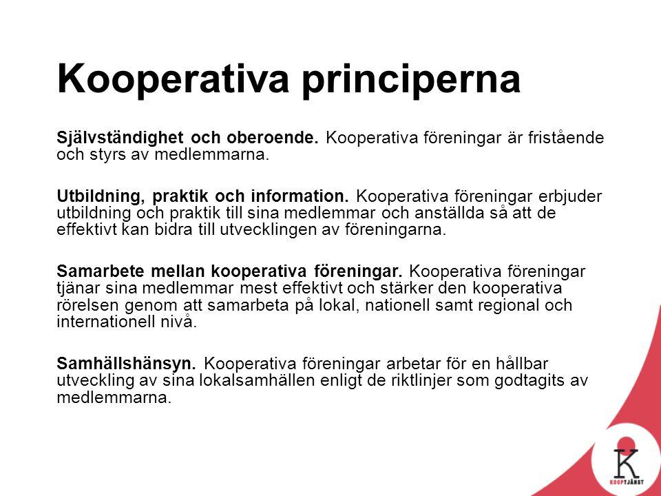 Kooperativa principerna Självständighet och oberoende. Kooperativa föreningar är fristående och styrs av medlemmarna. Utbildning, praktik och informat