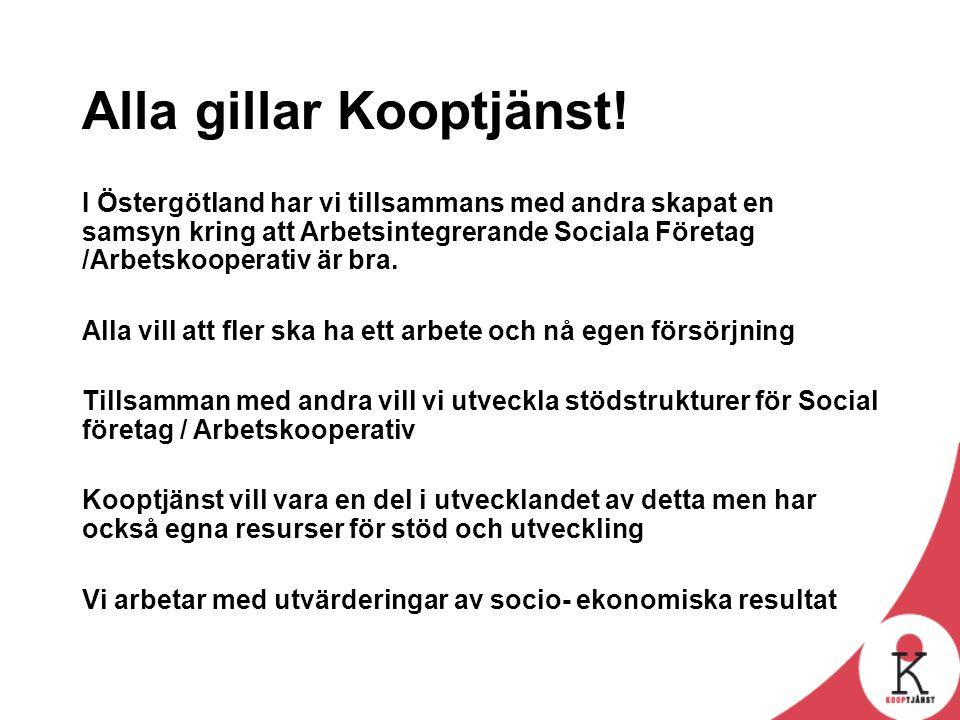 Alla gillar Kooptjänst! I Östergötland har vi tillsammans med andra skapat en samsyn kring att Arbetsintegrerande Sociala Företag /Arbetskooperativ är