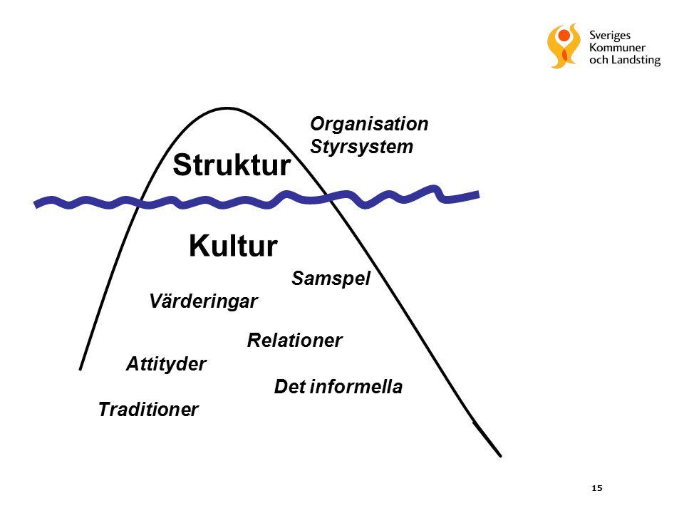 15 Struktur Kultur Värderingar Relationer Attityder Det informella Organisation Styrsystem Traditioner Samspel