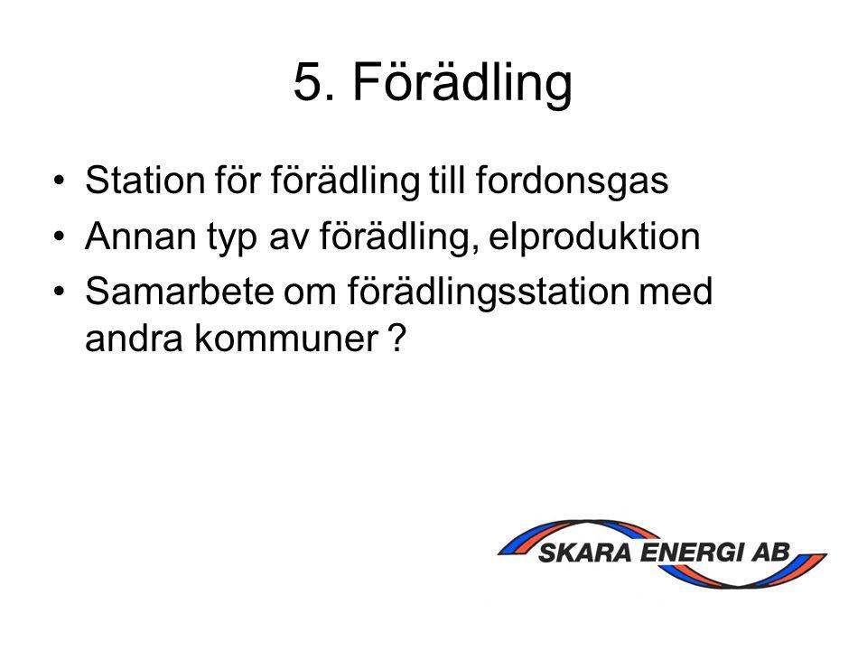 5. Förädling Station för förädling till fordonsgas Annan typ av förädling, elproduktion Samarbete om förädlingsstation med andra kommuner ?