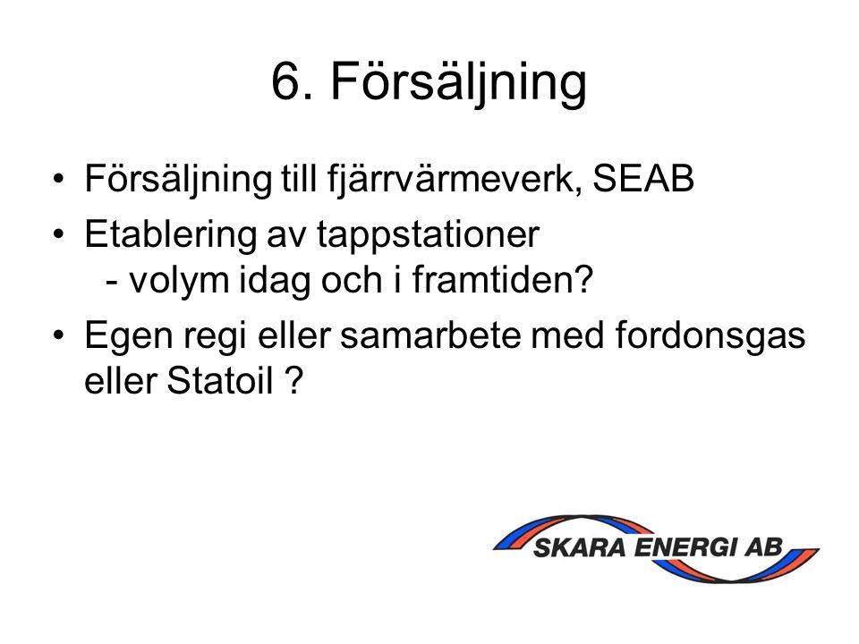 6. Försäljning Försäljning till fjärrvärmeverk, SEAB Etablering av tappstationer - volym idag och i framtiden? Egen regi eller samarbete med fordonsga