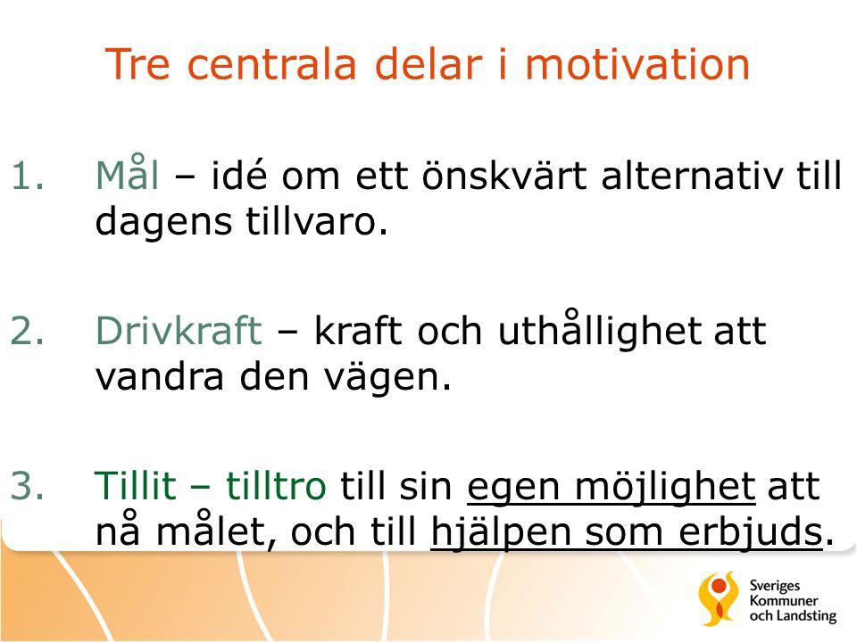 Tre centrala delar i motivation 1.Mål – idé om ett önskvärt alternativ till dagens tillvaro. 2. Drivkraft – kraft och uthållighet att vandra den vägen