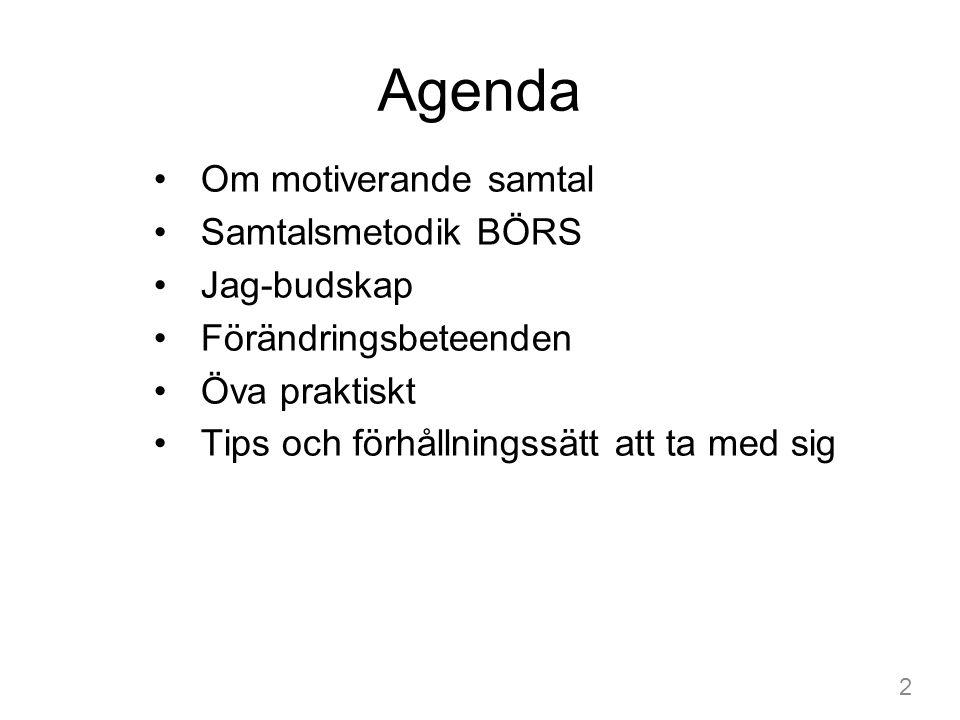 Agenda Om motiverande samtal Samtalsmetodik BÖRS Jag-budskap Förändringsbeteenden Öva praktiskt Tips och förhållningssätt att ta med sig 2